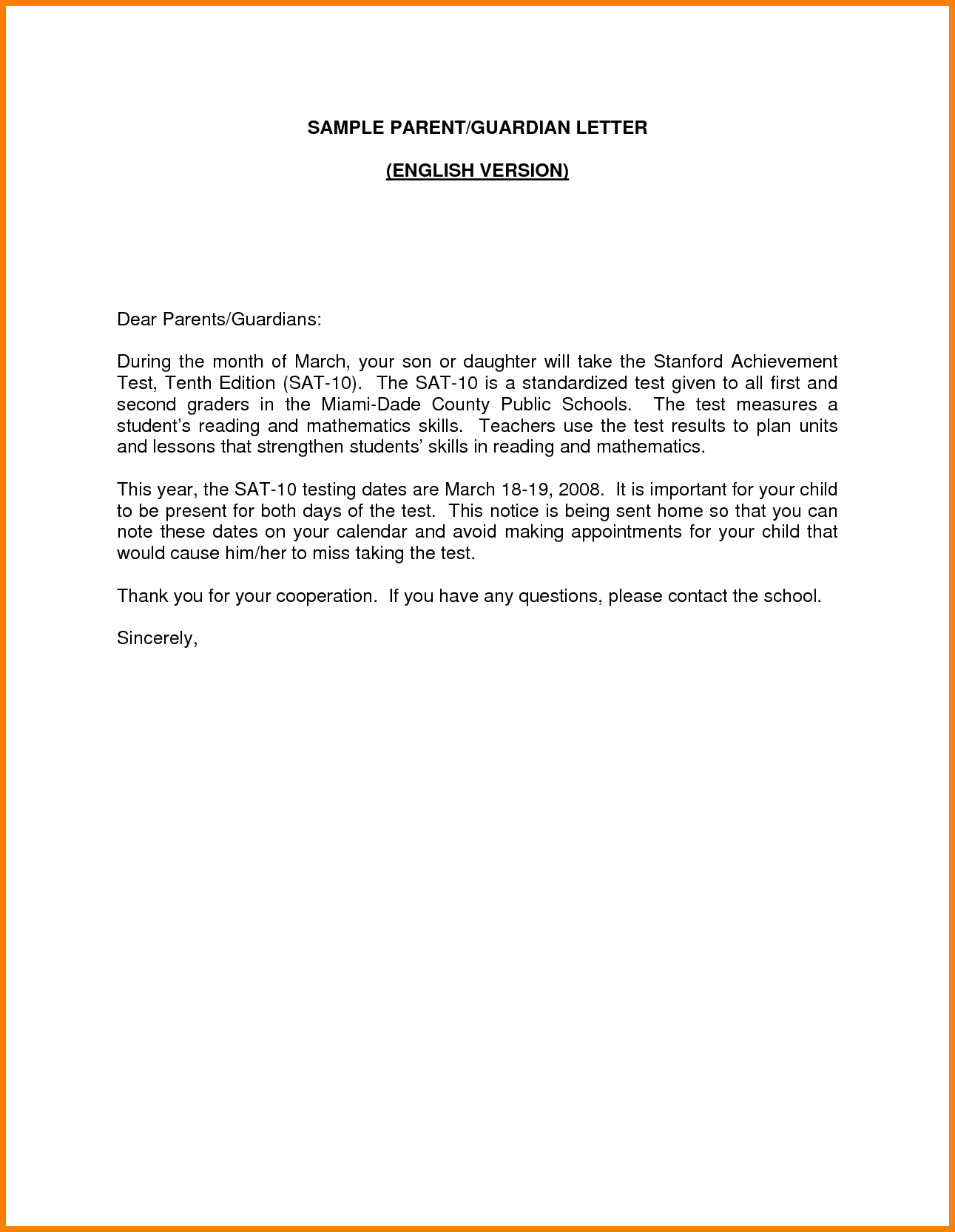 Guardian Cover Letter Examples Best Sample Parent English Version
