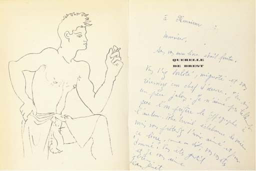 Line St Jean Art Et Design : Jean cocteau drawing in the book querelle de brest by genet