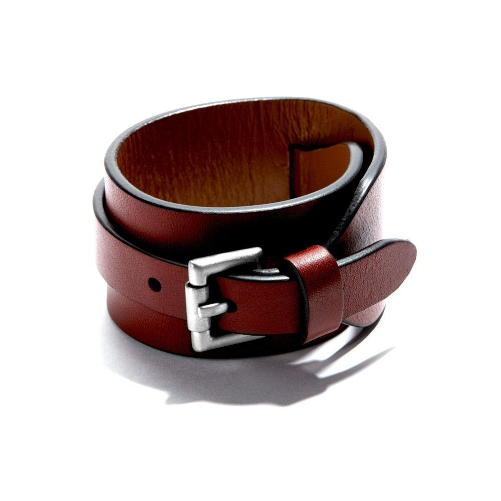 Fancy cordovan buckle closure wide leather cuff clothes