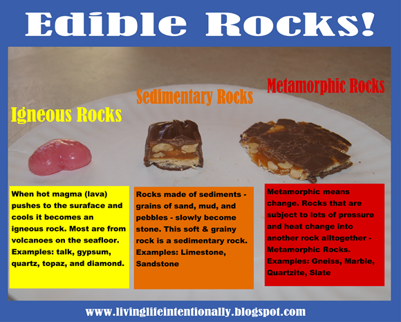 edible rock classifications earth science for kids homeschooling earth science experiments. Black Bedroom Furniture Sets. Home Design Ideas