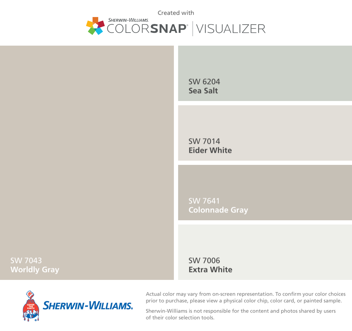 I Found These Colors With Colorsnap Visualizer For Iphone By Sherwin Williams Worldly Gray Sw 7043 Sea Salt 6204 Eider White 7014