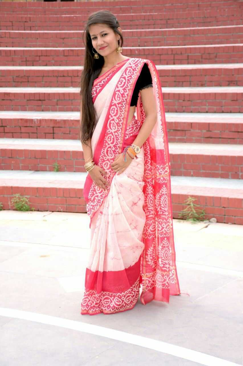 Maroon silk saree handblock printed chanderi silk sarees with blouse piece  chanderi