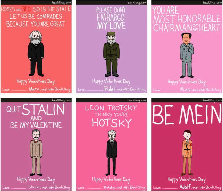 Valentines day and politics meme gift card Hitler Stalin Trotsky