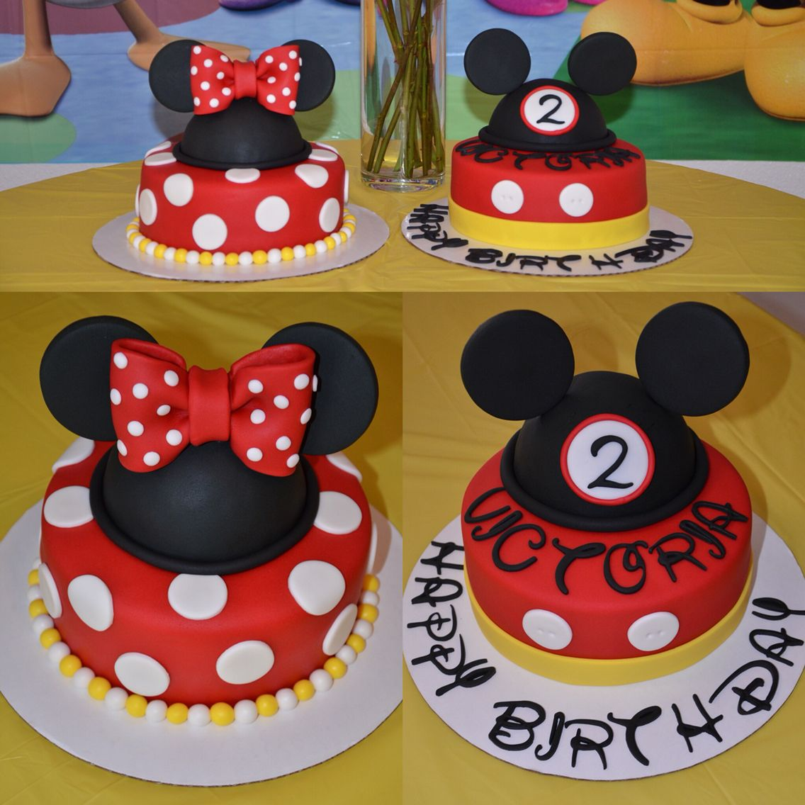 Matching Mickey and Minnie Mouse Birthday Cakes My fondant