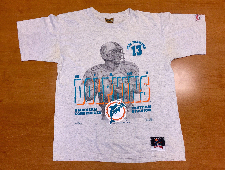 new arrival 926d7 7ec19 Vintage 1990s Dan Marino Miami Dolphins Nutmeg T-Shirt tee ...