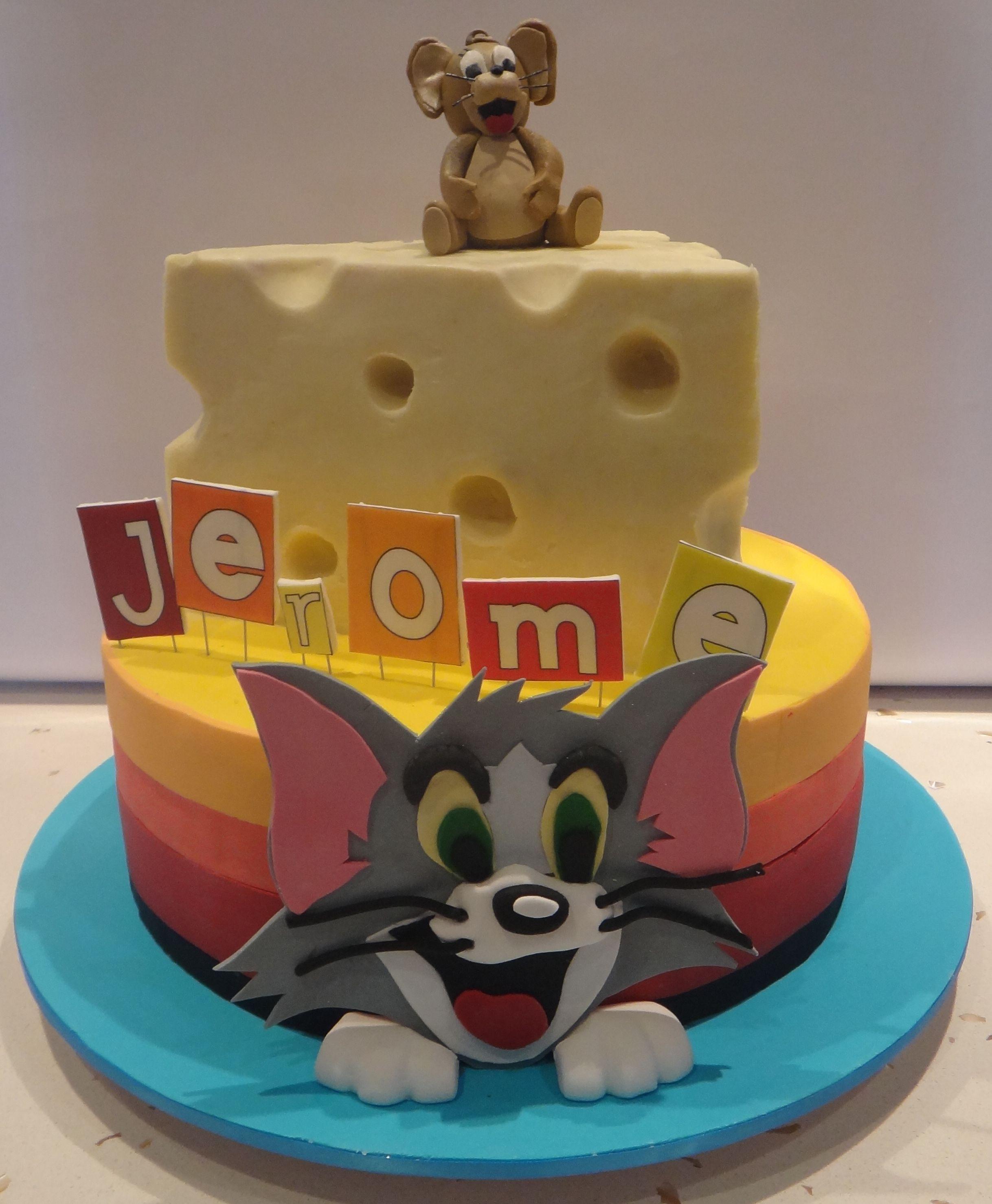 Enjoyable Tom And Jerry Birthday Cake Cartoon Cake Tom And Jerry Cake Birthday Cards Printable Trancafe Filternl