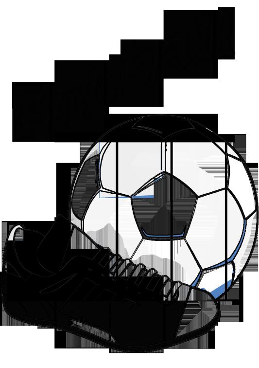 Ausmalbild Fußball - Fussballschuh und Ball ausmalen /// Los gehts ...