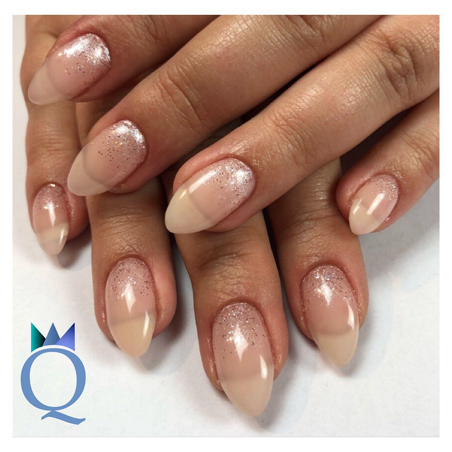 Almondnails Gelnails Nails Glitter Fade Mandelform Gelnagel