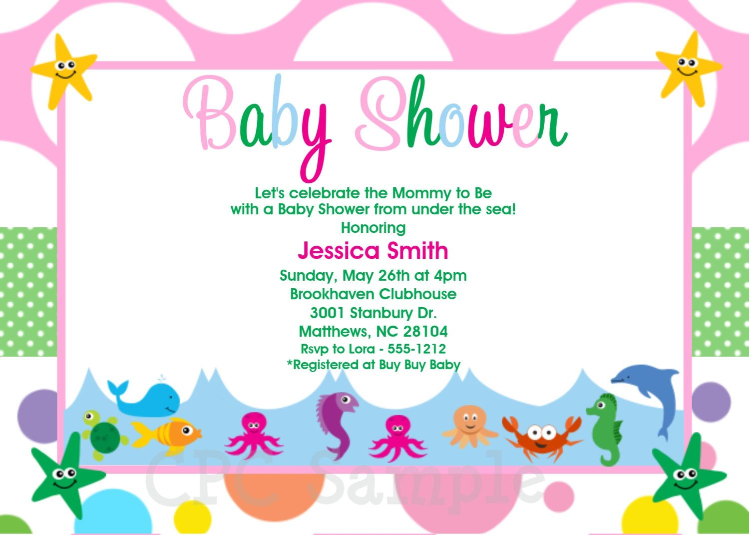 Under the Sea Baby Shower Invitations - Printable or Printed - Under ...
