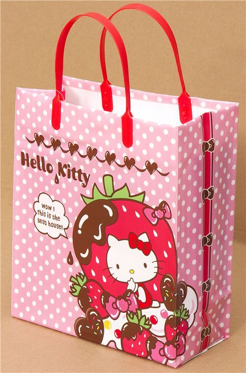 4c6eafc167 pink Hello Kitty strawberry plastic bag from Japan