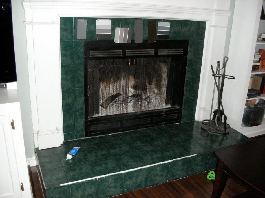 Lovely Painting Tile Around Fireplace Astonishing Green