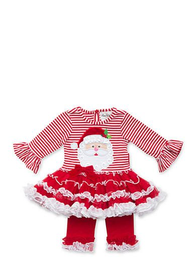 Rare Editions Girls Santa and Friends Applique Legging Set