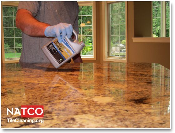Applying Aquamix Sealers Choice Gold Sealer To Granite