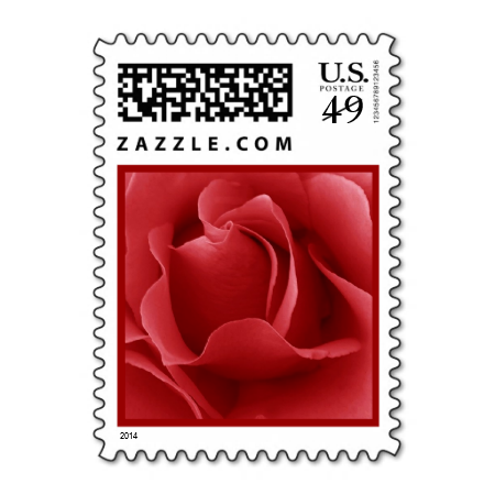 Red Rose Wedding V8 Postage Stamp Stamps Love Marriage Romance