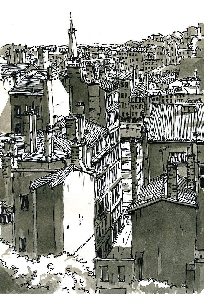 Quai De Saone Depuis La Place Rouville Lyon France Croquis