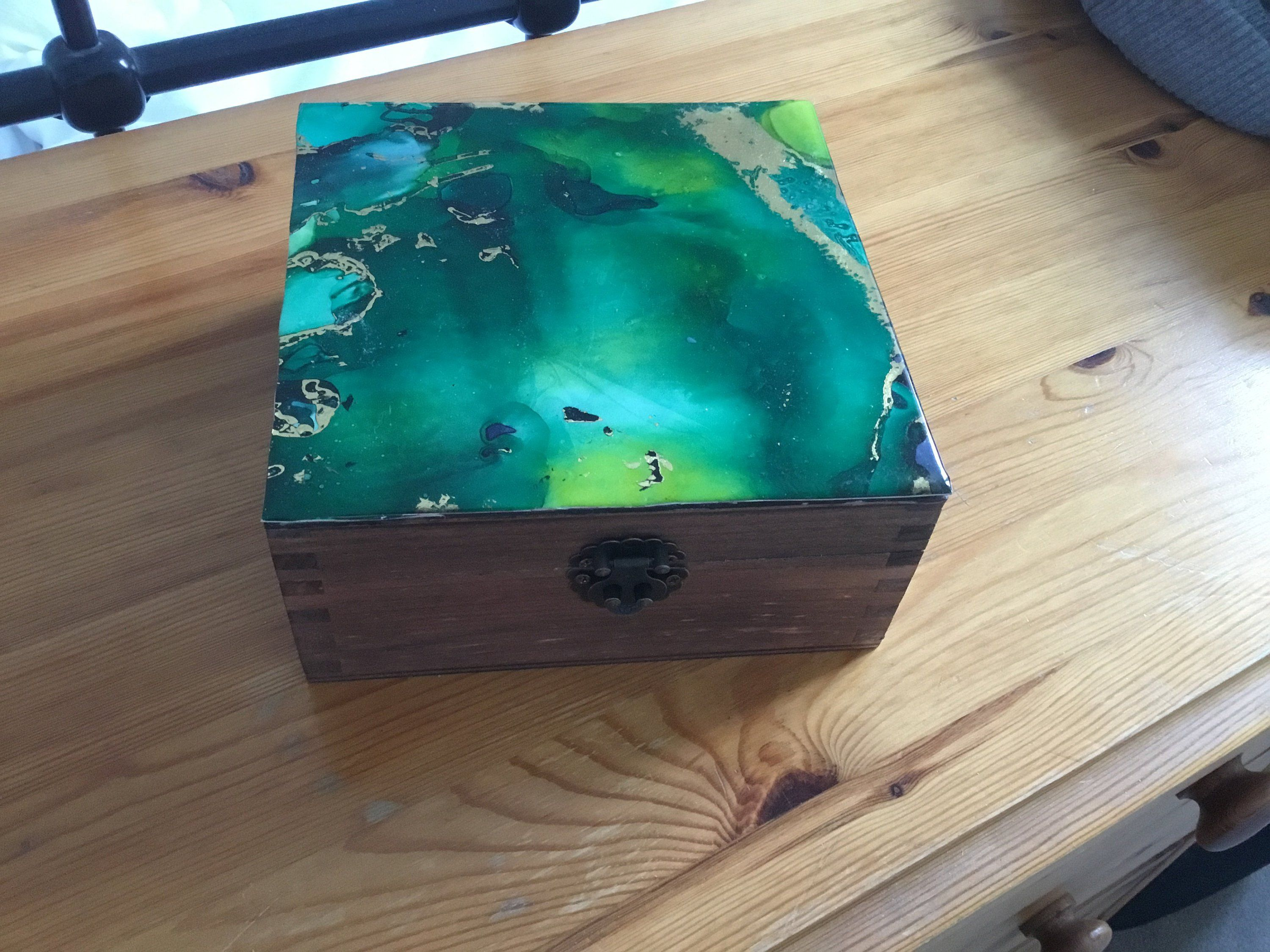 Hand Painted Tea Box Craft Box Memory Box Photo Box Sewing Box Jewellery Box Alcohol Ink On Yupo Paper Decorated Wooden Box With Clasp Sewing Box Pin Cushions Wooden Boxes