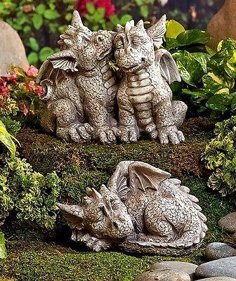 1 Couple Dragon Garden Statue Porch Patio Yard Art Lawn Deck