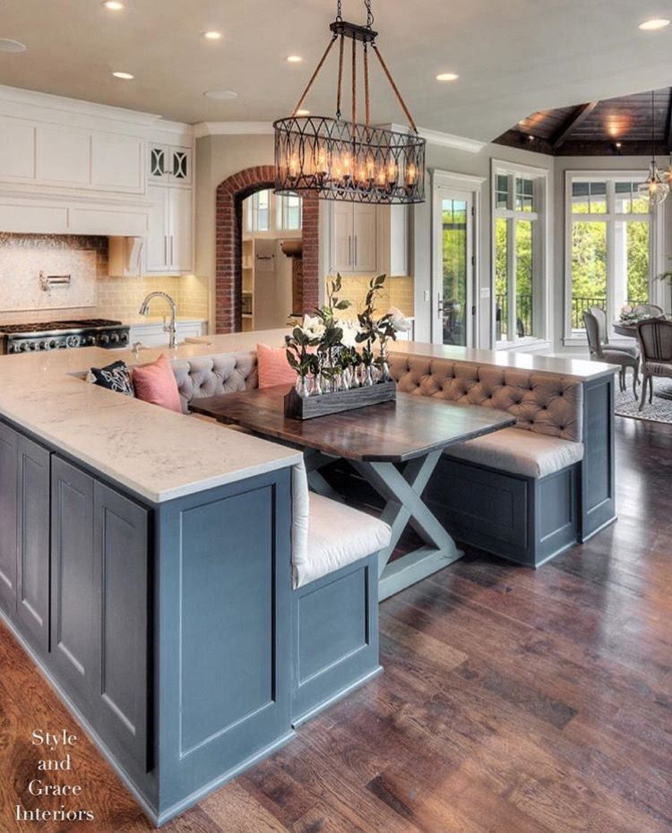 We Could Do A Smaller Version Of This And On The Other Side We Could Have Cabinets But Then Idk Wha Home Kitchen Island With Bench Seating Kitchen Inspirations