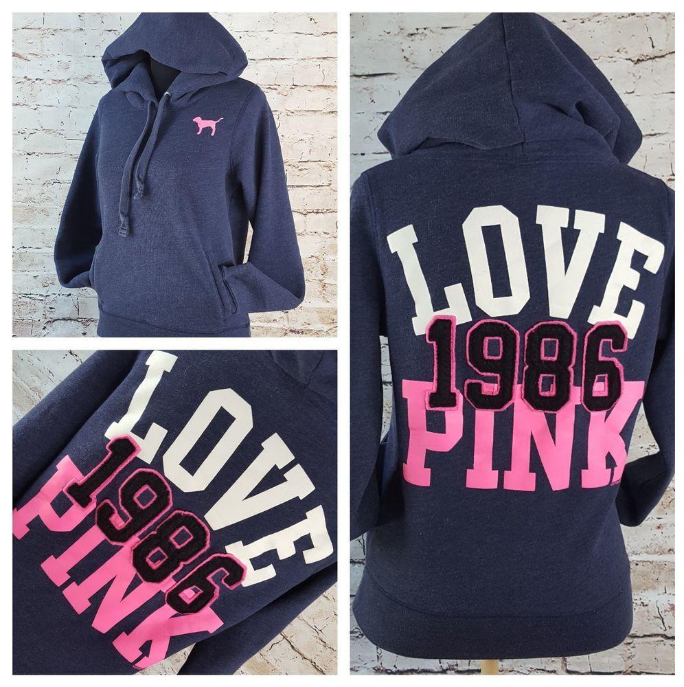 21b44e260fa Victoria s Secret Pink Graphic Hoodie Pullover Kangaroo Pocket Size M Love  1986  VictoriasSecretPink  Hoodie