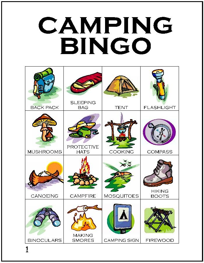 Camping Worksheets For Preschoolers : Free printable bingo cards for your next girl scout