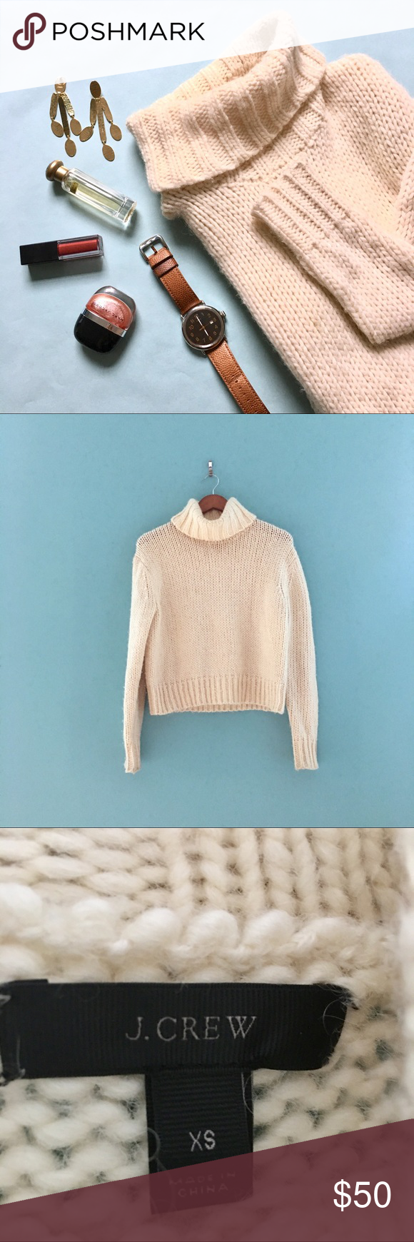 J.Crew Cropped Turtleneck Sweater | Warm sweaters and Cream white