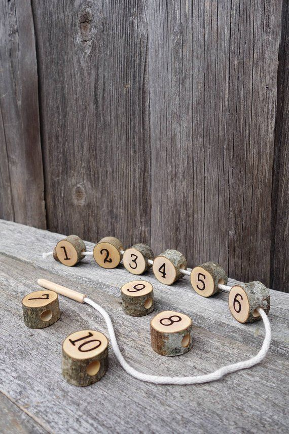 Wooden lacing toy, Number lacing toy, Montessori math, Montessori practical life, Toddler gift, Waldorf toy, Natural toy