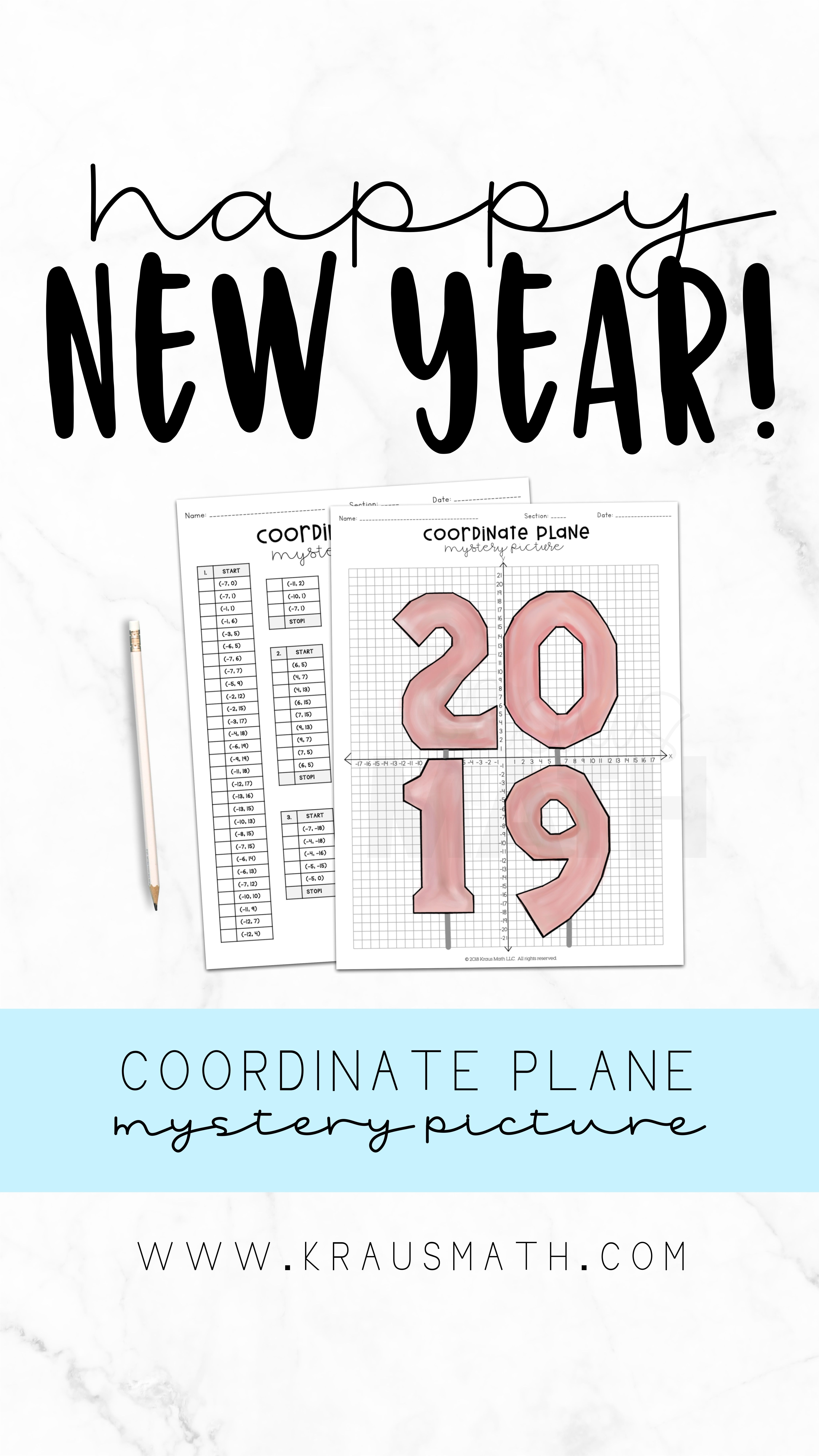 New Years Balloons Coordinate Plane Activity 4