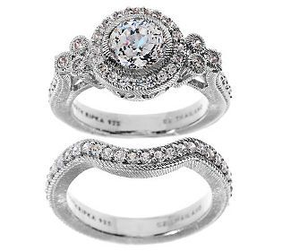 Judith Ripka Sterling 185ct Diamonique Bridal Ring Set Bridal