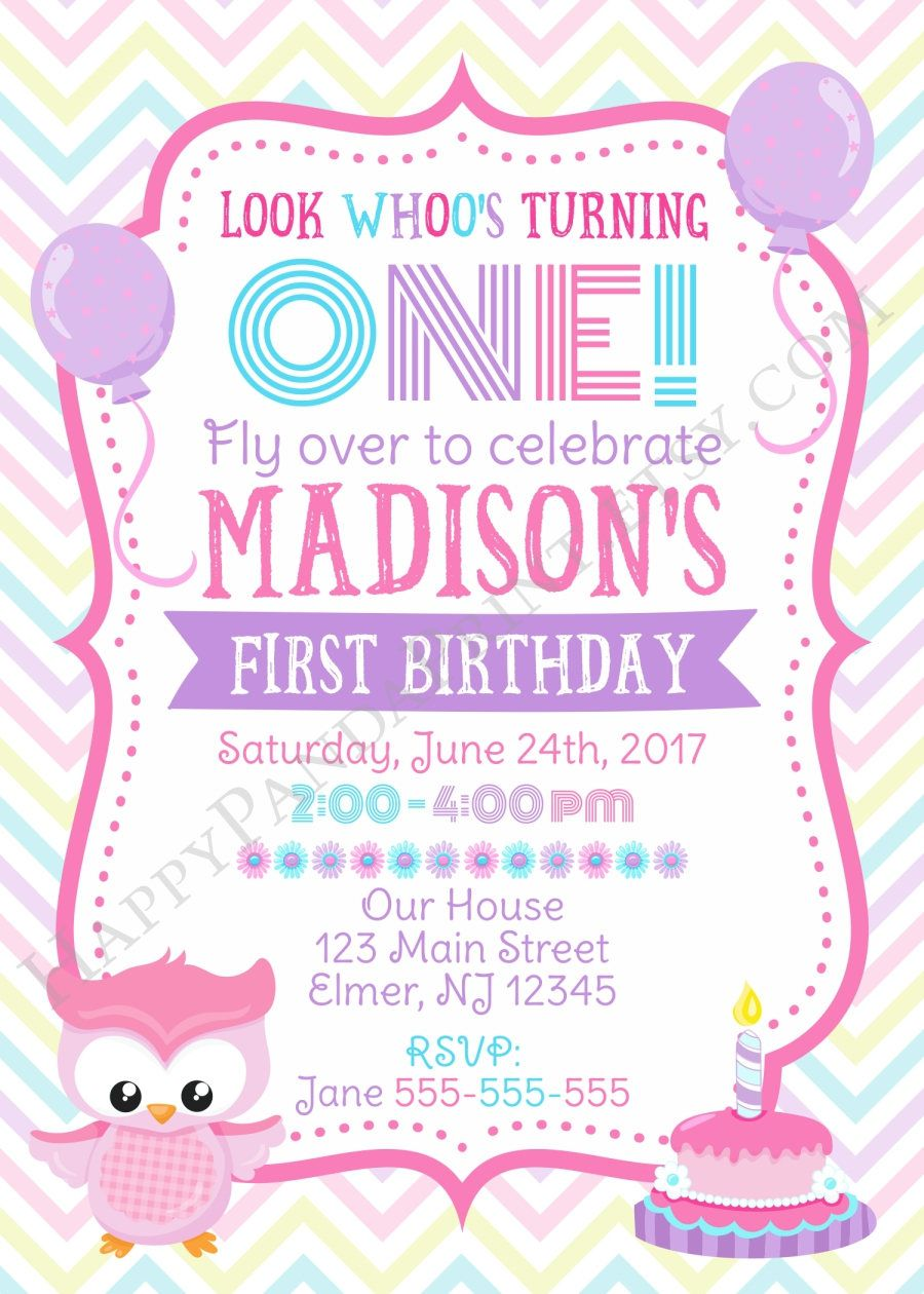 OWL Birthday Invitation Girl First Birthday Invitation Owl ...