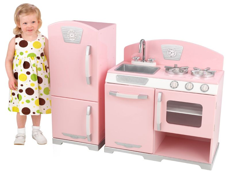 Pink Retro Kitchen and Refrigerator - Wooden Pretend Play Kitchen Set - Discontinued
