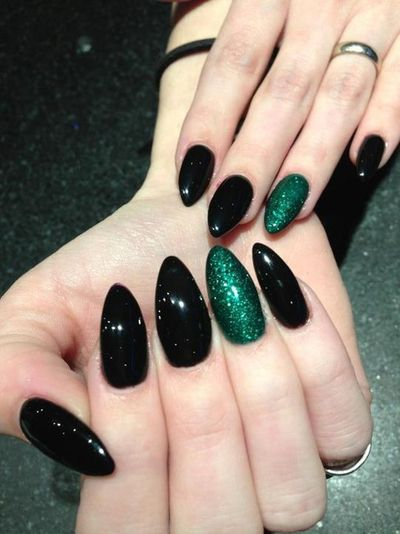 Black And Green Punk Nails Green Nails Cute Nails