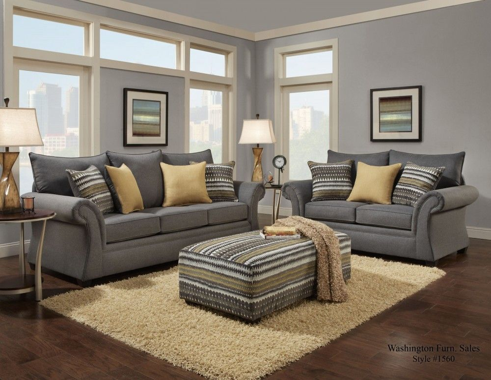 1560 Jitterbug Gray Sofa Loveseat Contemporary Living Room