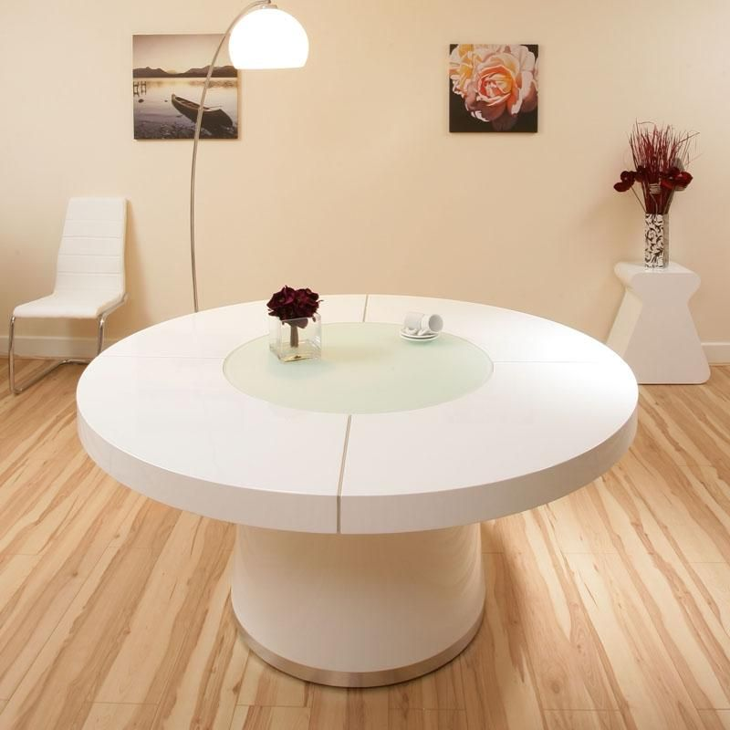 Large Round White Gloss Dining Table Glass Lazy Susan Led Lighting