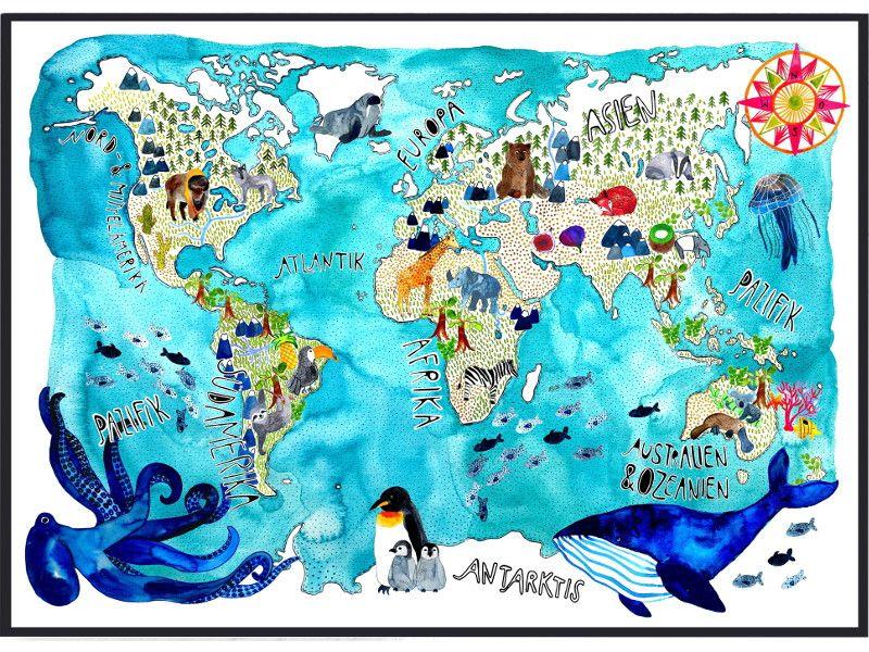 Weltkarte von Frau Ottilie auf DaWanda.com | aquarell | Kinder ...