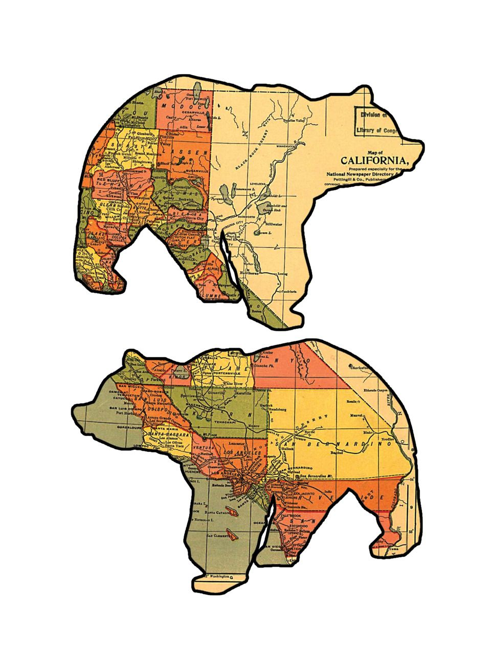 Bears In California Map California Grizzly Bear maps. (With images) | Bear silhouette