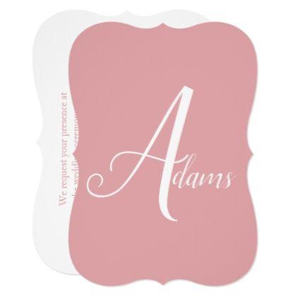 Custom Color or Name Dusty Rose Wedding Invitation | Zazzle.com #dustyrosewedding