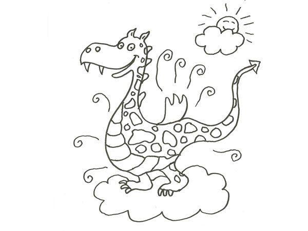 Dibujos Para Colorear Para Ninos De 5 A 6 Anos: Dibujo De Un Dragón De Cuento Para Colorear Con Los Niños
