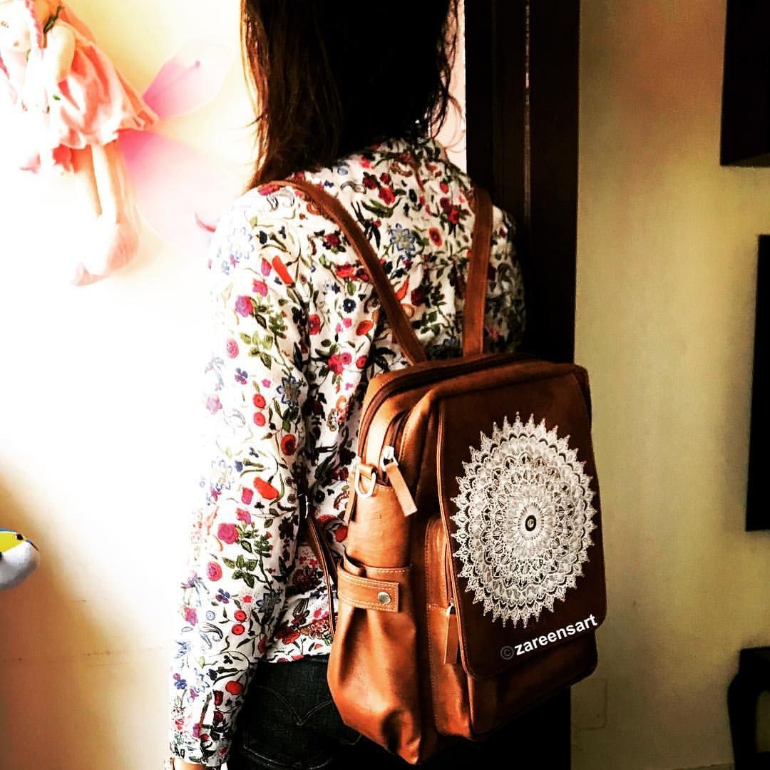 a96a5662f8e5 That s me carrying Customised hand painted Mandala leather Back pack.Photo  credits goes to my