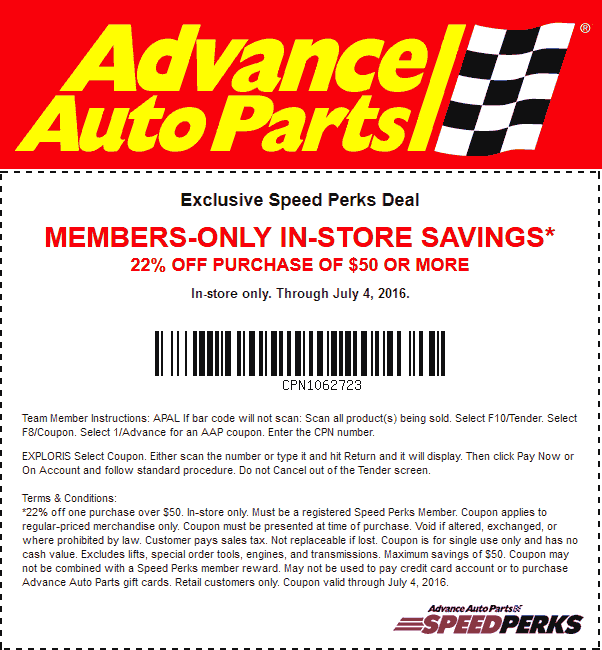 22 Off 50 At Advance Auto Parts Or Online Via Promo Code Usa16sp Shopping Coupons Coupon Apps Promo Codes