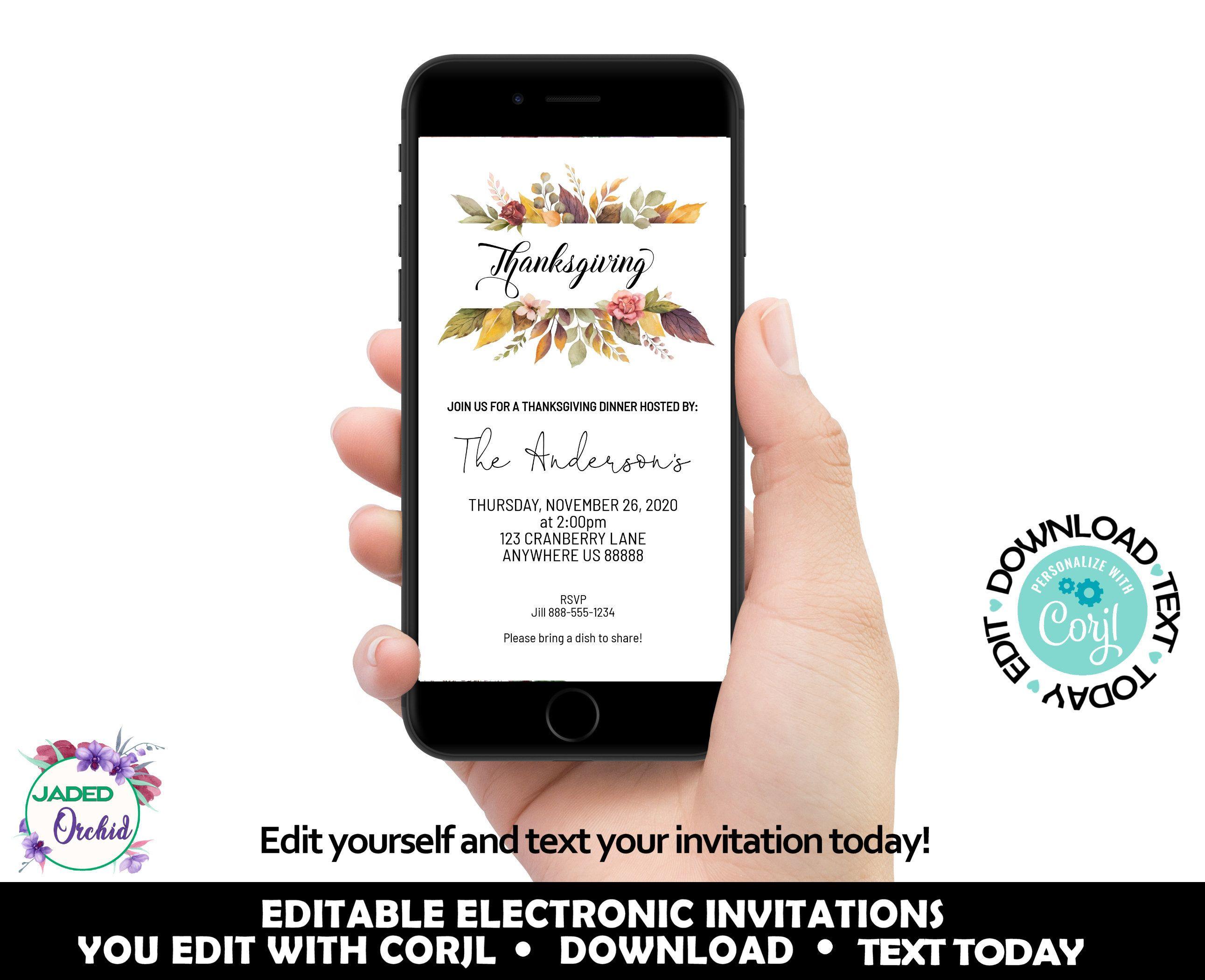 Smartphone Thanksgiving Dinner Invitation Fall Thanksgiving Etsy In 2020 Electronic Invitations Thanksgiving Invitation Thanksgiving Dinner Invitation