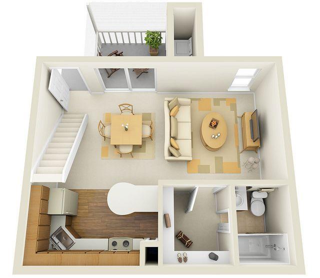 Studio 1st floor townhome 3d floor plan 3d studio and for Studio apartment plans 3d