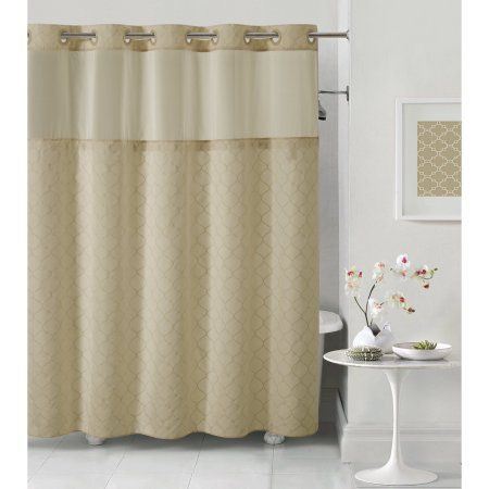 Hookless Taupe Mosaic Polyester Shower Curtain Brown Hookless Shower Curtain Curtains Shower Curtains Walmart