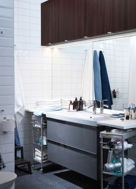 Området ved vasken. 2 IKEA rulleborde, vægspejle, skab med vask og vægskab.