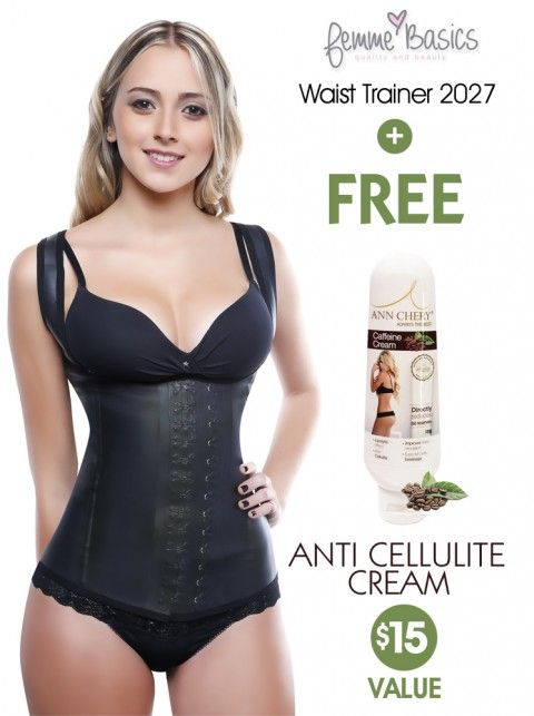 d214559559a06 ... Latex Waist Cincher 2 Rows Hooks Shapewear Corset Body Shaper Black +  Free Anti Cellulite Cream. For the ultimate sleek silhouette.