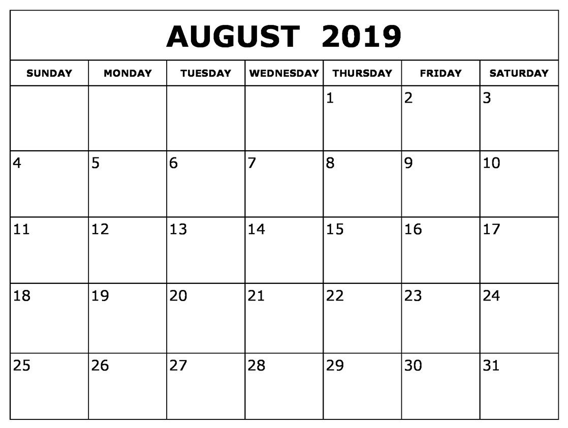 photo relating to Printable Monthly Calendar August identified as August 2019 Calendar #printables #Lovely August 2019