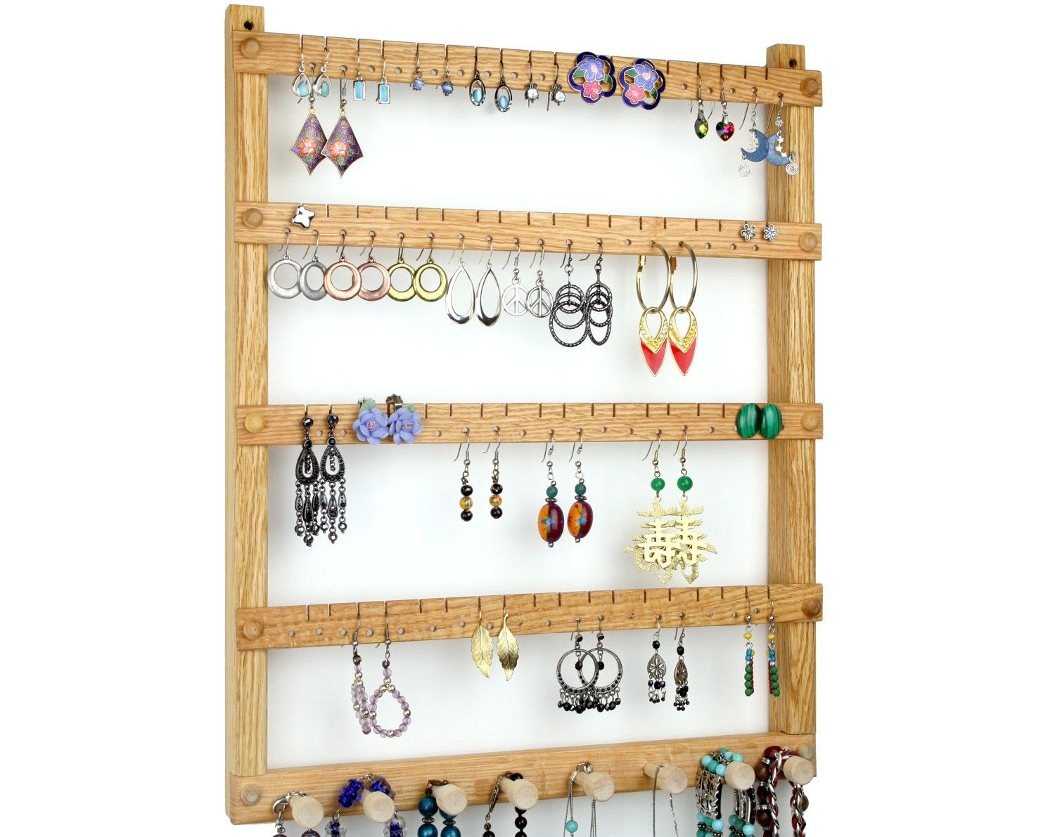 Oak Wood Wall Mount Earring Holder With Necklace, Bracelet Jewelry  Organizer. Holds Up To