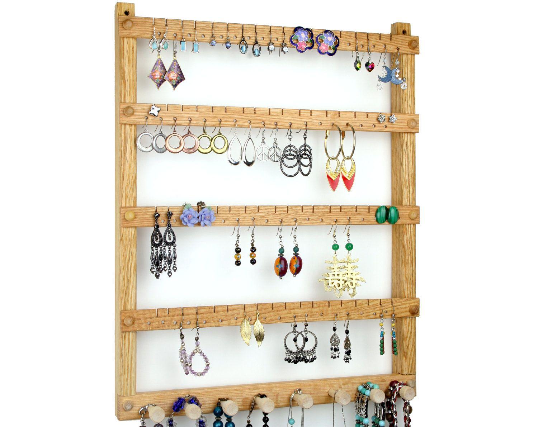 Oak Wood Wall Mount Earring Holder with Necklace, Bracelet ...