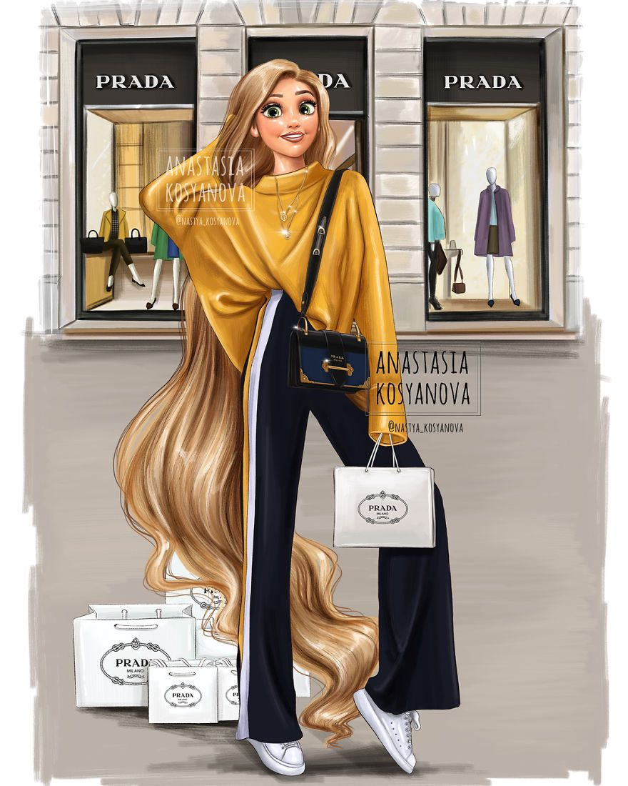 Russian Fashion Illustrator Shows How Disney Princesses Would Look If They Went Shopping Today