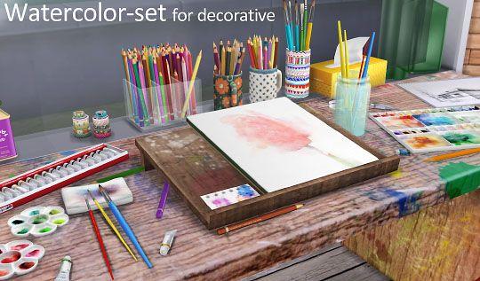 Water color set at Imadako • Sims 4 Updates  sims 4  Pinterest  심즈 및 심즈 4