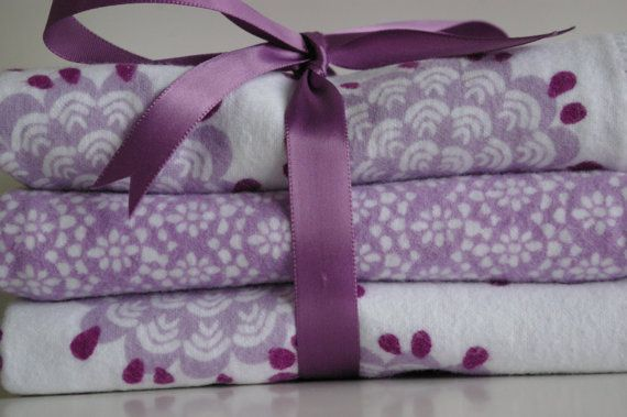 Baby Girl Burp Cloth Lavender And Purple Set Of By